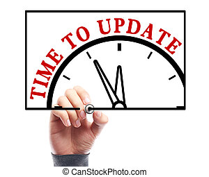 Time to update - Businessman is drawing the concept of time...