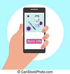 Hand holding mobile phone with icon of bottle vaccine and syringe.