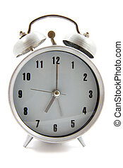 Time to wake up - Old school alarm clock isolated over white