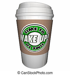 Time to Wake Up Sleeping Coffee Cup 3d Illustration
