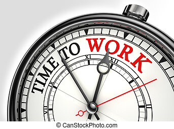 time to work concept clock closeup on white background with red and black words