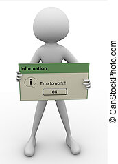 'Time to work' message