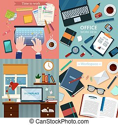 Time to Work. Modern Workplaces at Office and Home with Laptop and Office Accessories