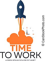 Time to work. Time management. Watch. Vector flat ...
