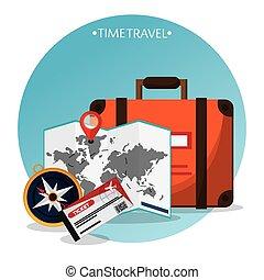 time travel brochure tourism vector illustration eps 10