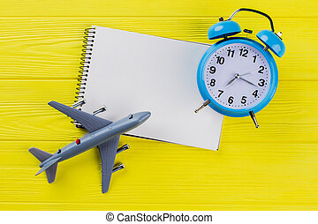 Time travel concept and blank notepad for copy space.