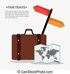 time travel poster suitcase map world