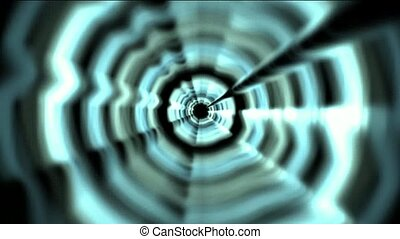 Time Tunnel, blue rotation laser trails in 3D space