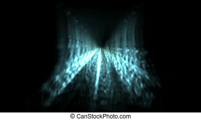 Time Tunnel,blue light trails in 3D space