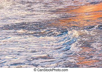 time., vague, coucher soleil, eau, mer