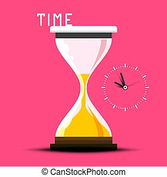 Time Vector Design with Hourglass on Pink Background