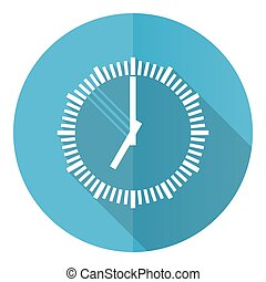 Time vector icon, clock, watch flat design blue round web button isolated on white background