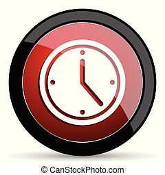 Time vector icon. Modern design red and black glossy web and mobile applications button in eps 10