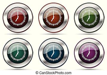 Time vector icon set. Silver metallic chrome border icons ...