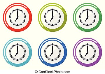 Time vector icons, set of colorful flat design internet symbols on white background