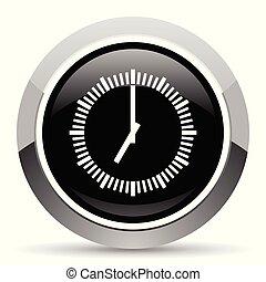 Time vector steel icon. Chrome border round web button....