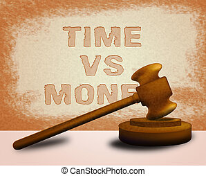 Time Versus Money Words Contrasting Earnings With Expenses - 3d Illustration