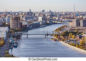time., ville, russia., moscow., soir, vue aérienne