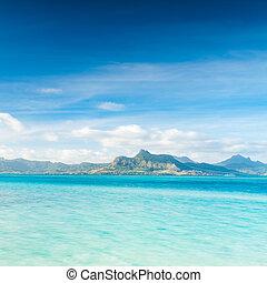time., vue, jour, mer, mauritius.