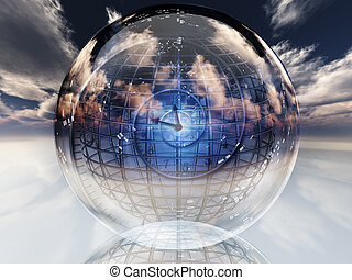 Time warp - Spiral of time inside crystal ball.