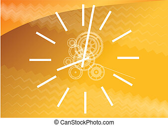 time - White watch on the orange background