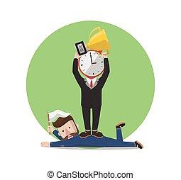 time winner from businessman illustration