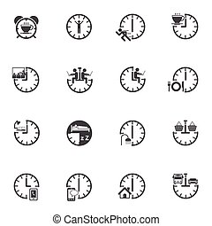 Time with daily routine icon set