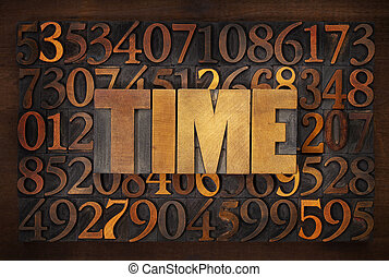 time word in wood type