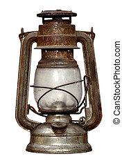time-worn, kerosene lamp