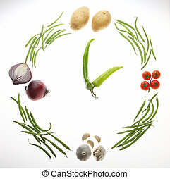 time - Zeit - watch formed out of different vegetables - Uhr...