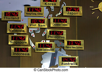 Time zone for asian member nation with map.