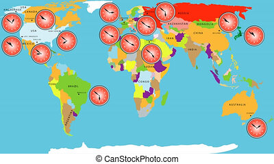 Time zone world. Time zone world time lapse. Map of world time zones and clock. World map with major cities names and country borders. Time zone clocks showing different time