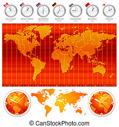 Time zones and clocks - vector illustration