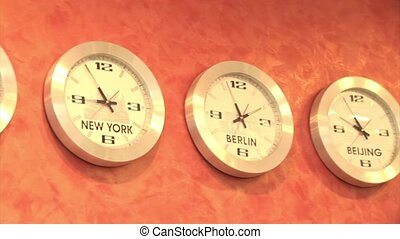 Time Zones Clock showing passing time in different time...