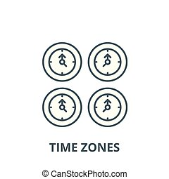 Time zones vector line icon, linear concept, outline sign, symbol