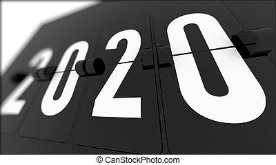 timeflip, kalender, 2020, schwarz