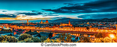 time.italy., michelangelo, point., sobre, vista, piazzale, ...