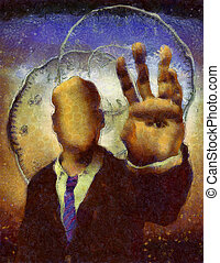 Timekeeper - Faceless man with eye on palm hand, time...