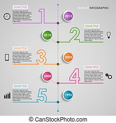 Timel ine info graphic colored number design template - Time...