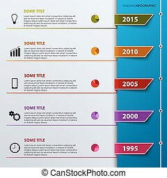 Timel ine info graphic with colored tabs template - Time...