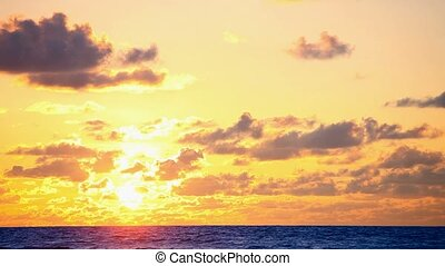 timela, -, skyer, solopgang, igennem