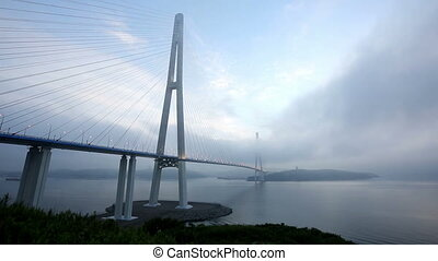 timelaos of Bridge Russky through the Strait of Eastern...