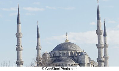 timelape of the famous blue mosque in istanbul, turkey