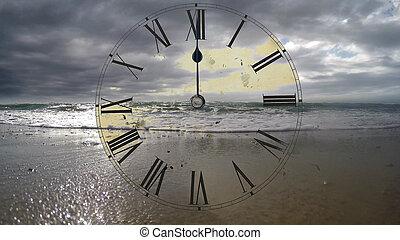 timelaps., go., défaillance, montre, clock., rapidement, mer, temps