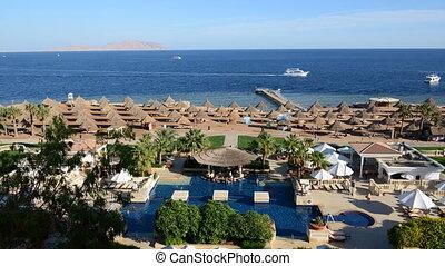 Timelaps of the beach at luxury hotel, Sharm el Sheikh,...