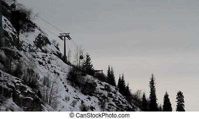 Timelaps -  ski lift in the accelerated playback