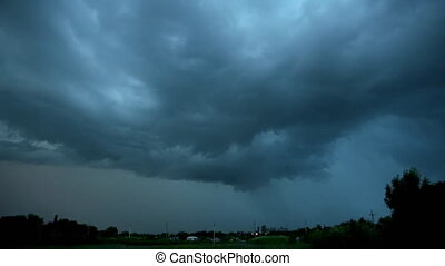 Timelaps Stormy sky over the province Ranch. Country farm ...