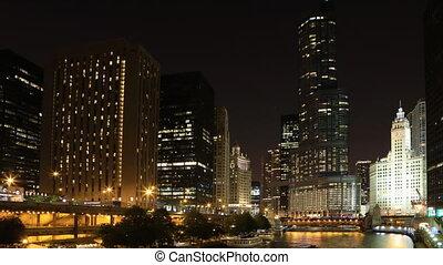 timelapse, éjszaka, -ban, a, chicago, riverwalk
