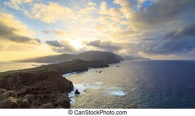 timelapse, île, madère, coucher soleil