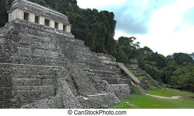 timelapse, 의, 그만큼, mayan, 폐허, 에, palenque, chiapas, mexico.,...